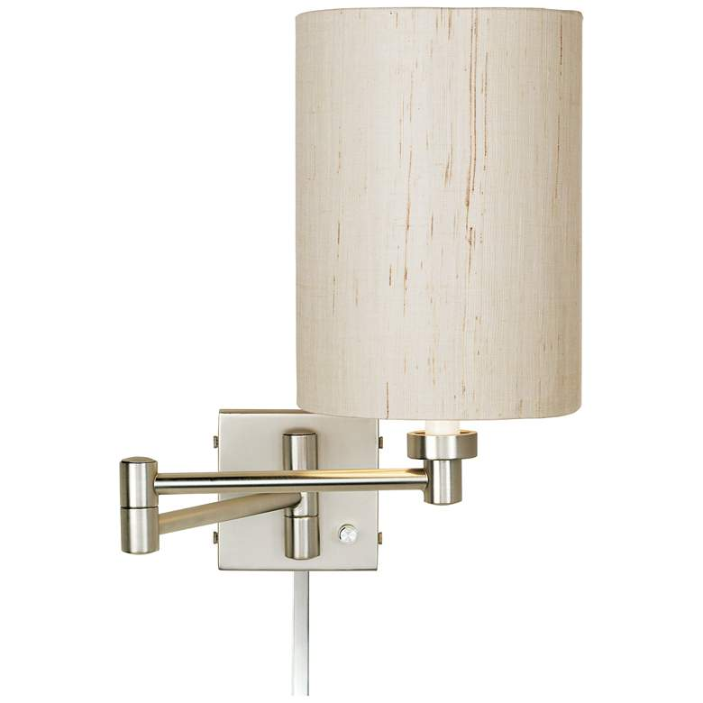 Ivory Linen Drum Brushed Nickel Swing Arm with Cord Cover