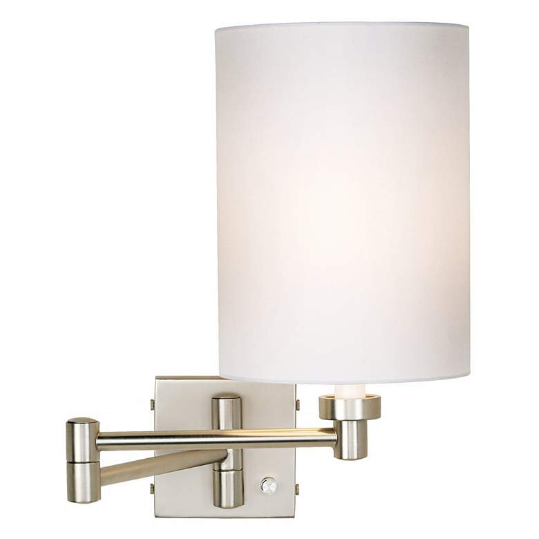 Brushed Nickel White Cylinder Plug-In Swing Arm Wall Lamp