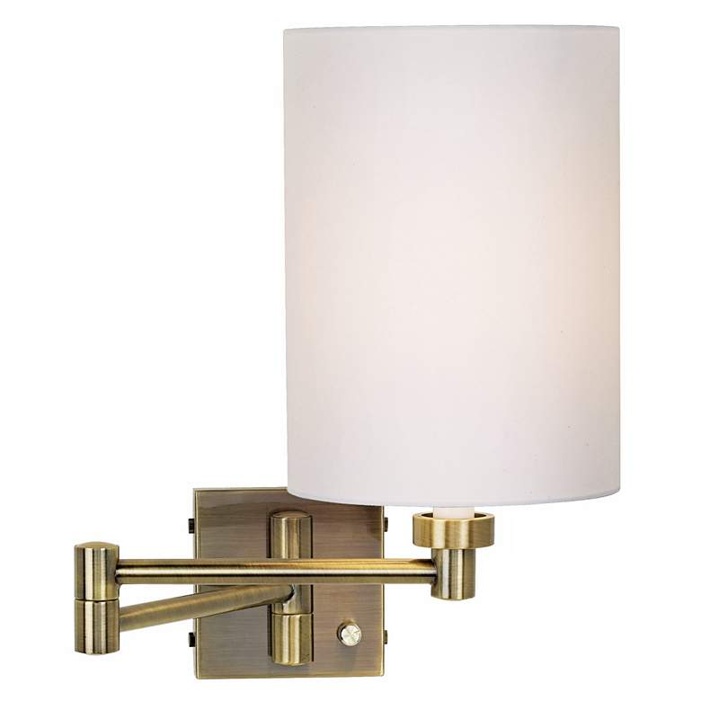 White Cylinder Shade Antique Brass Swing Arm Wall Lamp