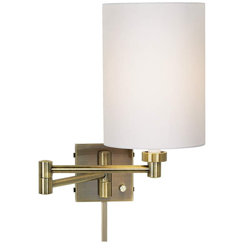 White Cylinder Shade Antique Brass Wall Lamp with Cord Cover