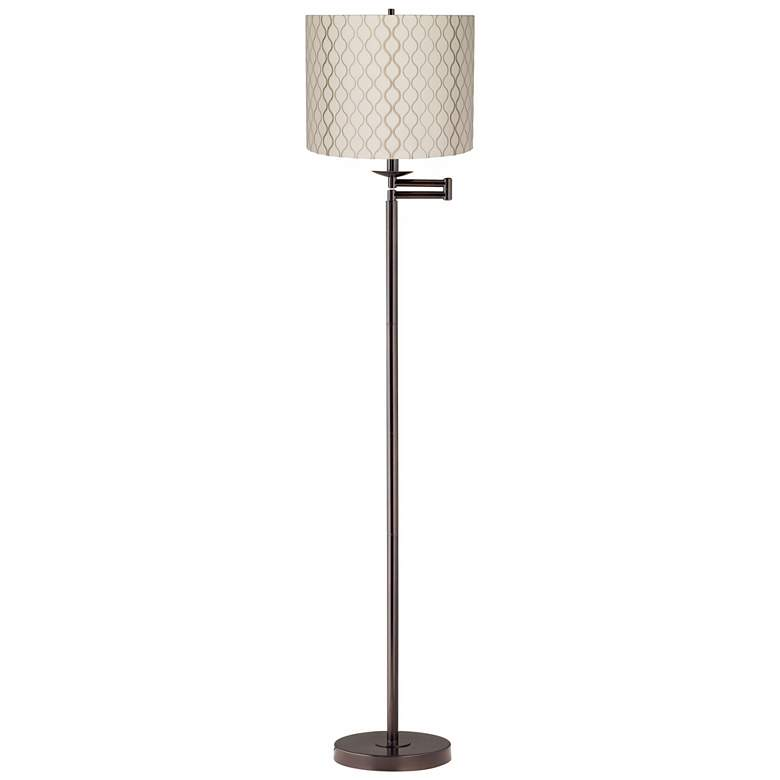 Embroidered Hourglass Bronze Swing Arm Floor Lamp