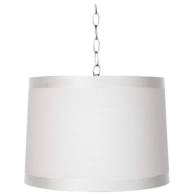 """Off-White Drum 14"""" Wide Brushed Nickel Shaded Pendant"""