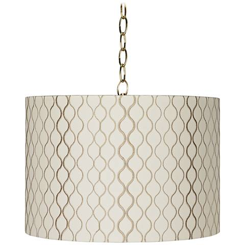 """Embroidered Hourglass 16""""W Brass Shaded Pendant Light"""