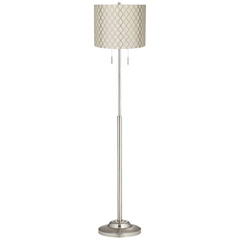 Abba Embroidered Hourglass Shade Brushed Steel Floor Lamp