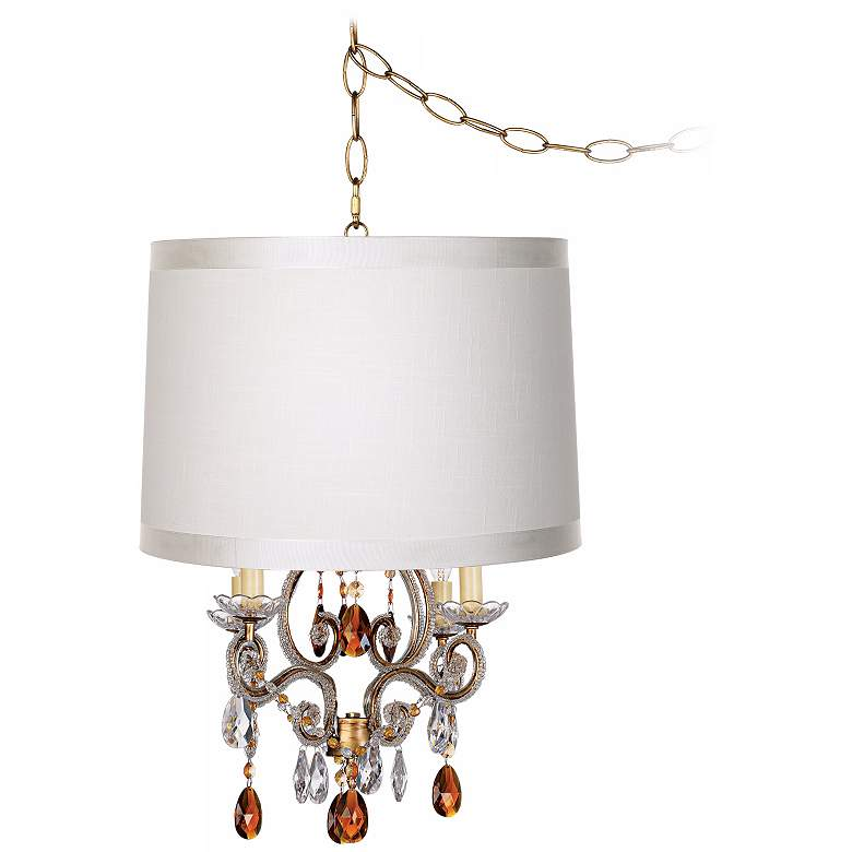 Leila Off-White Drum Shade Gold Plug-In Swag Chandelier
