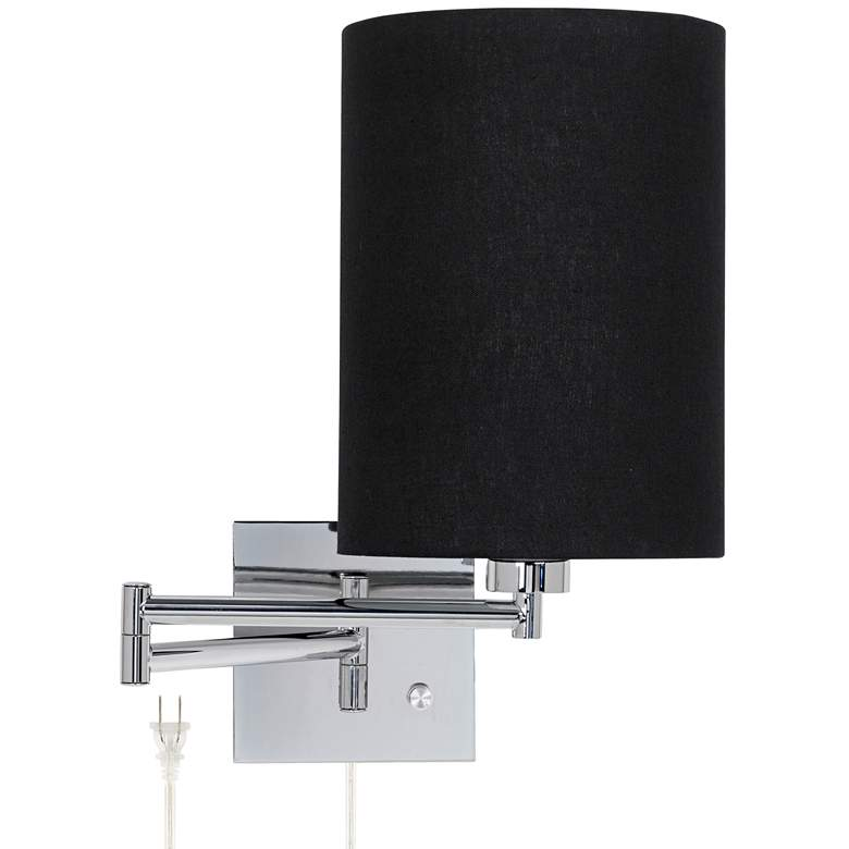 Black Cylinder Shade Plug-In Swing Arm Wall Lamp