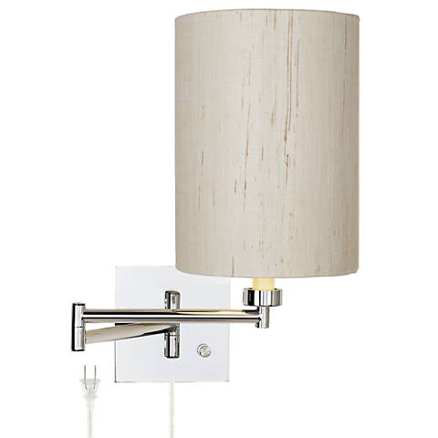 Dimmable Ivory Linen Drum Shade Plug-In Swing Arm Wall Lamp