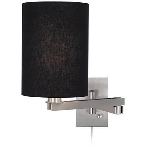 Possini Euro Design Black Cylinder Shade Plug-in Swing Arm
