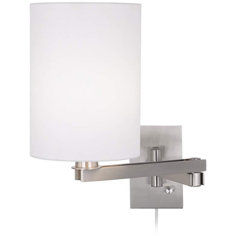 Possini Euro White Cylinder Plug-In Swing Arm Wall Lamp