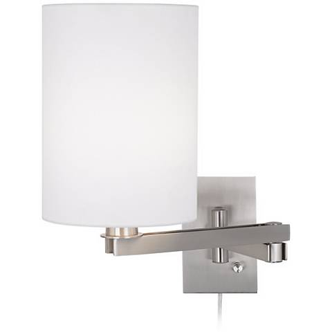 Possini Euro White Cylinder Plug-In Swing Arm Wall Lamp