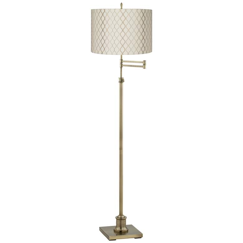 Westbury Brass Swing Arm Floor Lamp with Embroidered Shade