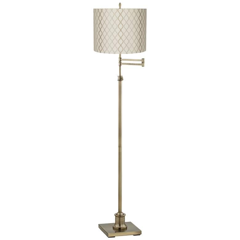 Westbury Embroidered Hourglass Brass Swing Arm Floor Lamp