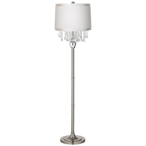 Crystals Off-White Shade Satin Steel Floor Lamp