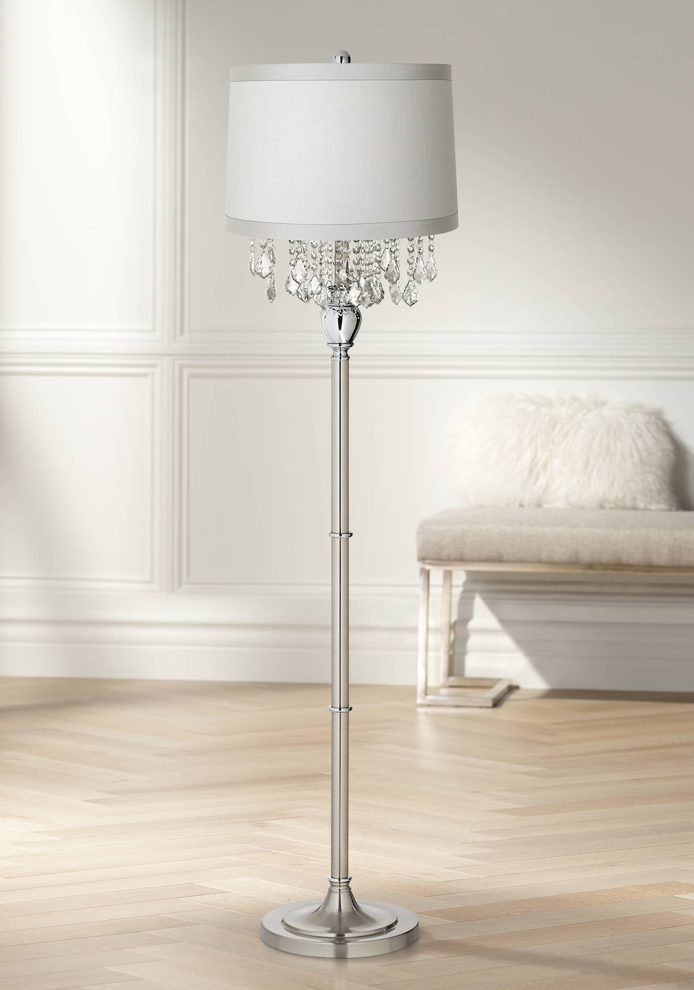 Details about traditional chandelier floor lamp satin steel chrome crystal for living room
