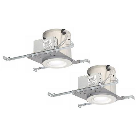 "6"" White IC New Construction LED Recessed Light Kit Set of 2"