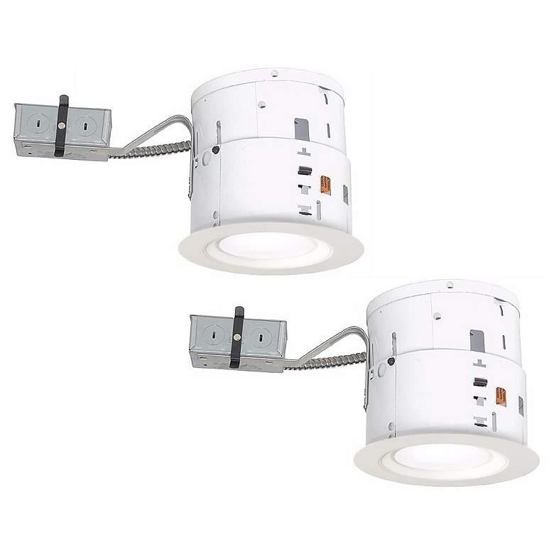 "6"" White Non-IC Remodel LED Recessed Light Kit Set of 2"