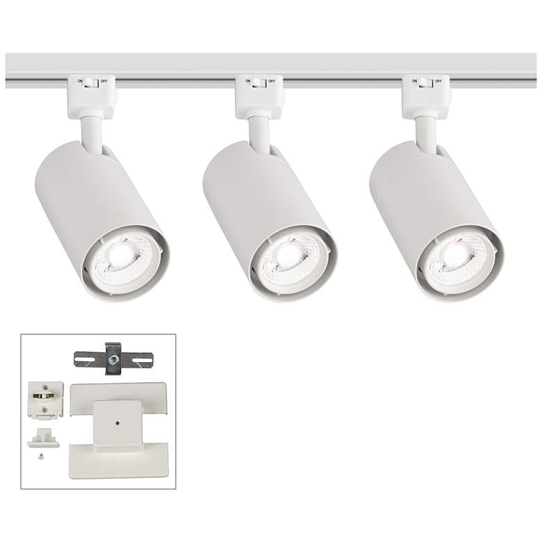 3-Light White Cylinder 15W LED Floating Canopy Track