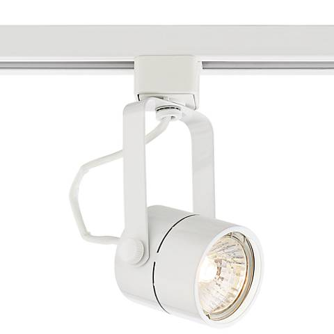 Pro Track White Cylinder LED GU10 Halo Track Head W/Bulb