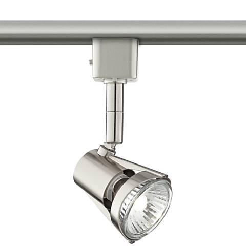 Brushed Steel LED Track Light Head W/ Bulb