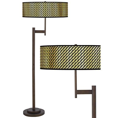 Waves Gold Metallic Giclee Parker Bronze Floor Lamp