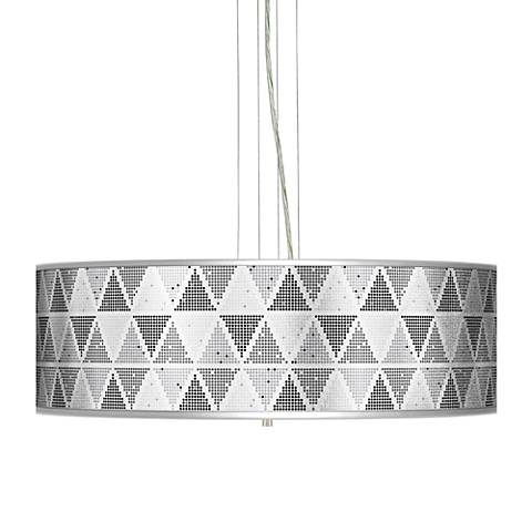 "Pointillism Silver Metallic 24"" Wide 4-Light Pendant Chandelier"