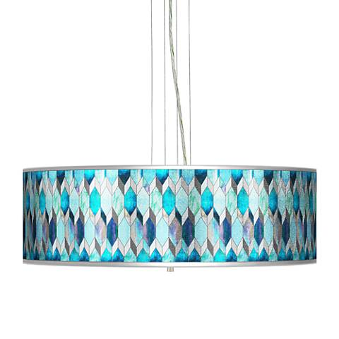 "Blue Tiffany-Style Silver Metallic 24"" Wide 4-Light Pendant"