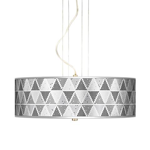 "Pointillism Silver Metallic Giclee20""W 3-Light Pendant Chandelier"