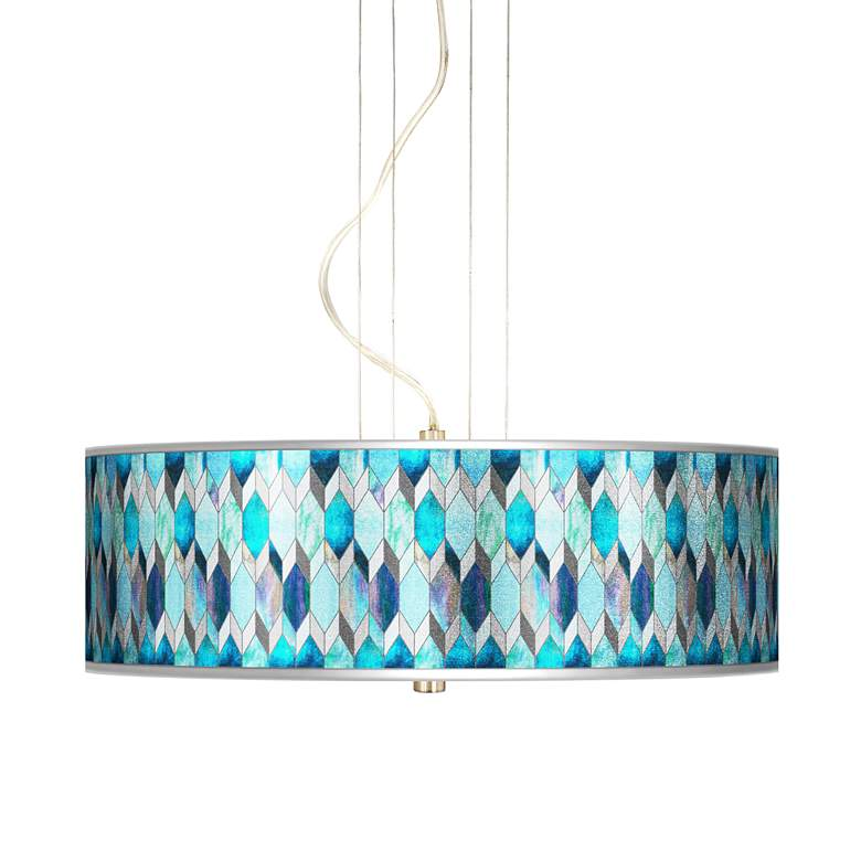 "Blue Tiffany-Style Silver Metallic 20"" Wide 3-Light Pendant"