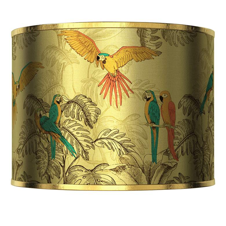 Macaw Jungle Gold Metallic Lamp Shade 13.5x13.5x10 (Spider)