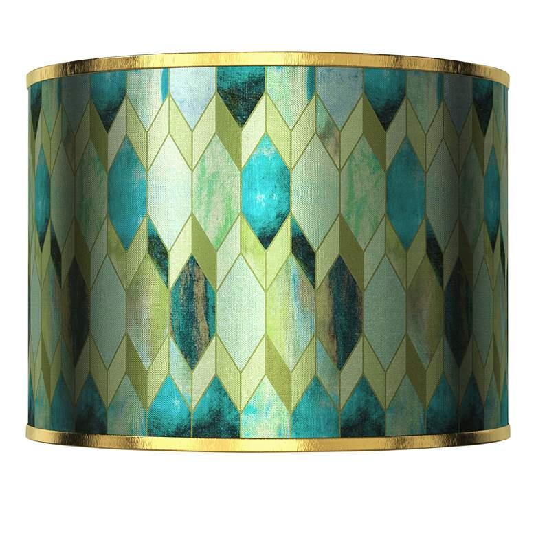 Blue Tiffany-Style Gold Metallic Lamp Shade 13.5x13.5x10 (Spider)