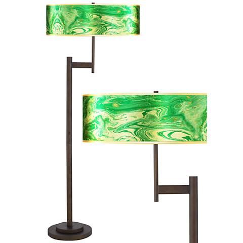 Malachite Gold Metallic Giclee Parker Bronze Floor Lamp