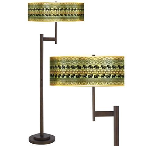 Elephant March Gold Metallic Giclee Parker Bronze Floor Lamp