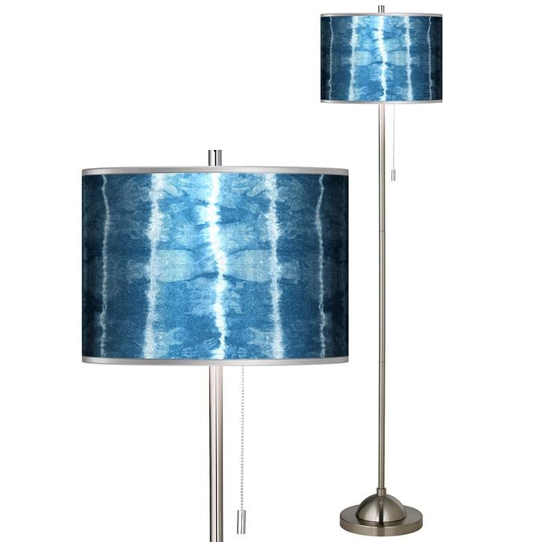 Cool Reflections Silver Metallic Giclee Brushed Nickel Floor Lamp