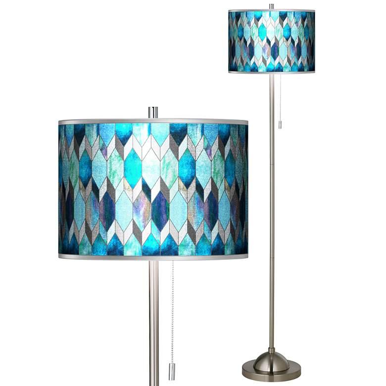 Blue Tiffany-Style Silver Metallic Brushed Nickel Floor Lamp