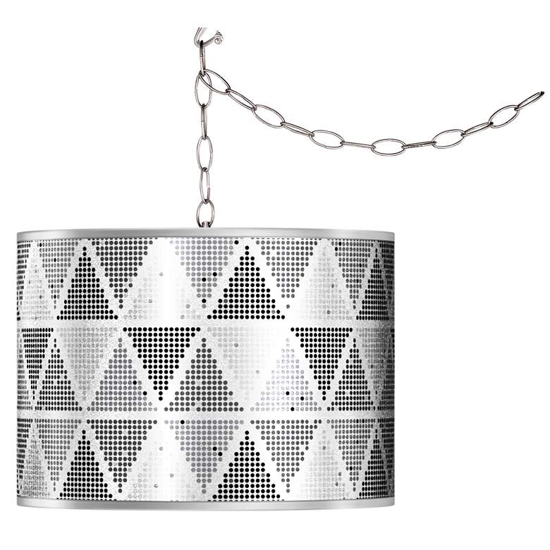 Swag Style Pointillism Silver Metallic Giclee Plug-In Chandelier