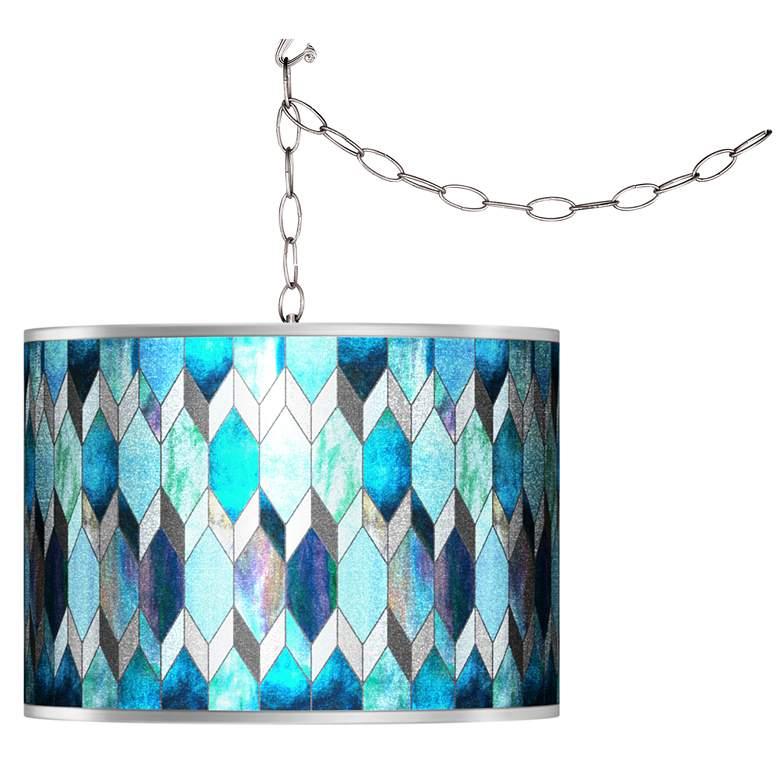Swag Style Blue Tiffany-Style Silver Metallic Plug-In Chandelier