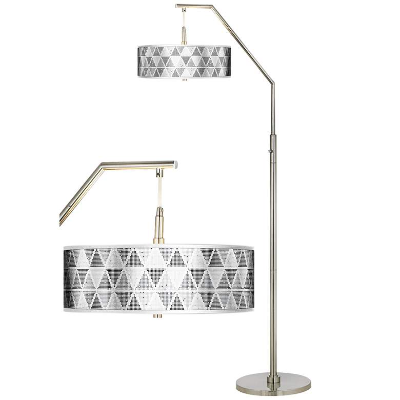 Pointillism Silver Metallic Giclee Shade Arc Floor Lamp