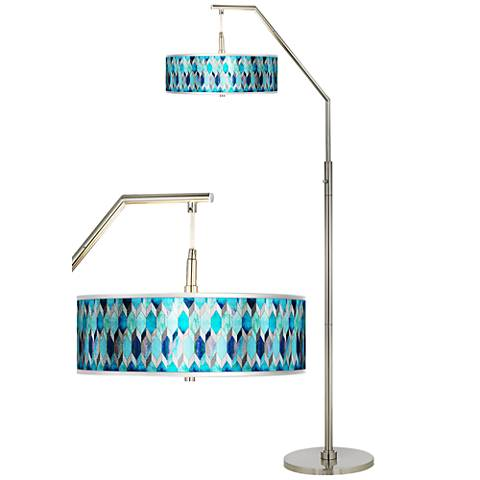 Blue Tiffany-Style Silver Metallic Giclee Shade Arc Floor Lamp