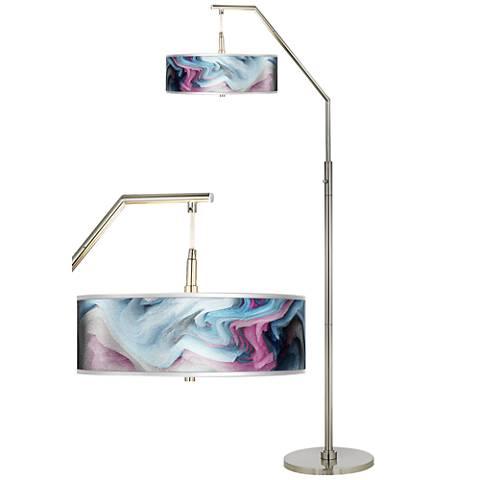 Europa Silver Metallic Giclee Shade Arc Floor Lamp