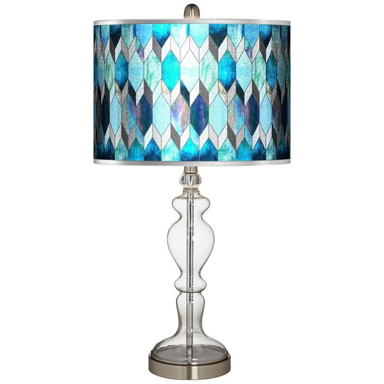Blue Tiffany-Style Silver Metallic Apothecary Glass Table Lamp