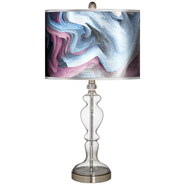 Europa Silver Metallic Giclee Apothecary Glass Table Lamp