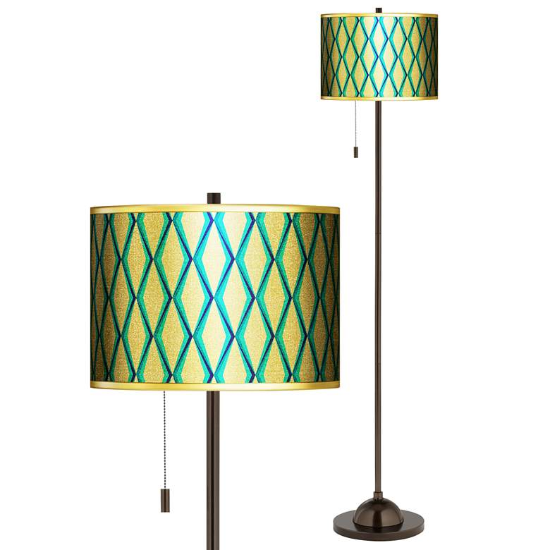 Matrix Gold Metallic Giclee Bronze Club Floor Lamp