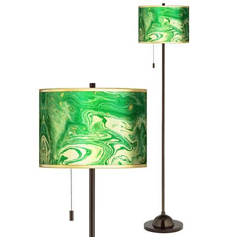 Malachite Gold Metallic Giclee Bronze Club Floor Lamp