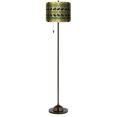 Elephant March Gold Metallic Giclee Bronze Club Floor Lamp