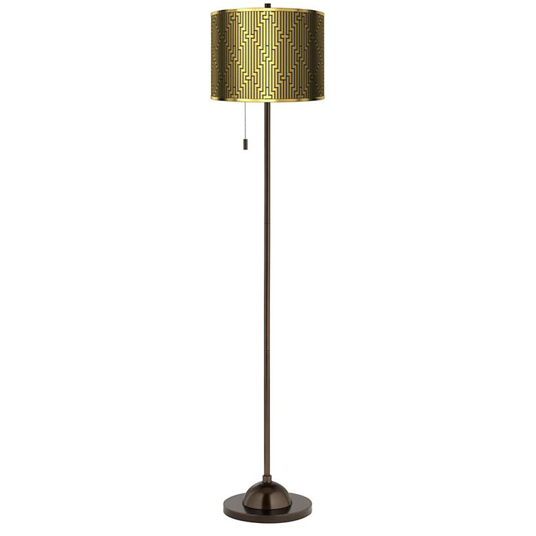 Diamond Maze Gold Metallic Giclee Bronze Club Floor Lamp