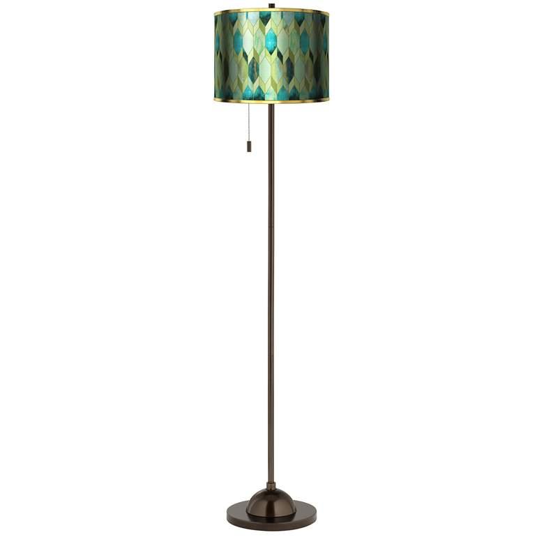 Blue Tiffany-Style Gold Metallic Giclee Bronze Club Floor Lamp