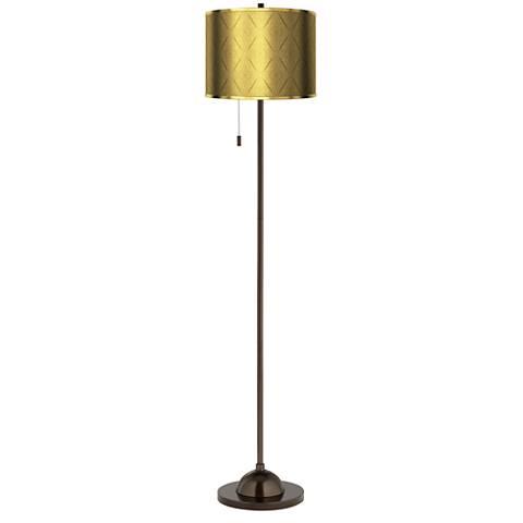 Moroccan Diamonds Gold Metallic Giclee Bronze Club Floor Lamp