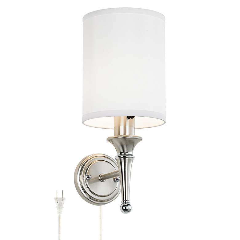 Braidy Brushed Nickel Plug-In Wall Sconce