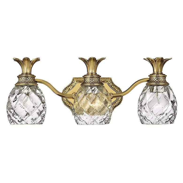 """Anana Plantation 21 1/2""""W Antique Brass 3-Light Bath Light"""