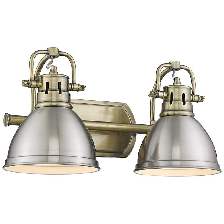 """Duncan 16 1/2"""" Wide Aged Brass and Pewter 2-Light Bath Light"""